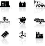 Energy icons. Set of nine black energy icons on white background Stock Photo