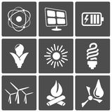 Energy icons. Vector Energy icons: nuclear solar wind bio water Royalty Free Illustration
