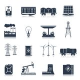 Energy icons black set Stock Photography