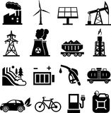 Energy icons black Royalty Free Stock Photo