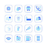 Energy icons - blue series Stock Photos