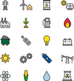 Energy icons. Colorful set of icons relating to power and energy on white background Royalty Free Stock Photo