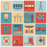 Energy icons flat line set Stock Images
