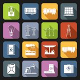 Energy Icons Flat Set Stock Image