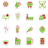 Energy icons - green-red series Stock Photo