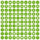 100 energy icons hexagon green. 100 energy icons set in green hexagon isolated vector illustration Stock Photography