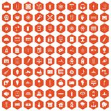 100 energy icons hexagon orange. 100 energy icons set in orange hexagon isolated vector illustration Stock Photos
