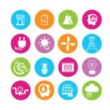 Energy icons. Power and energy icons in colorful round buttons Stock Image
