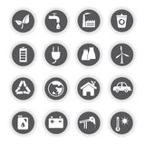 Energy icons, round buttons. Set of 16 energy icons, round buttons vector illustration