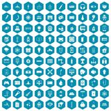 100 energy icons sapphirine violet. 100 energy icons set in sapphirine hexagon isolated vector illustration Vector Illustration