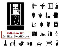 24 Energy Icons. Set of 24 Bathroom Icons in Black Color Stock Photography