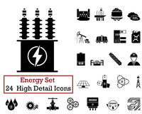 24 Energy Icons. Set of 24 Energy Icons in Black Color Royalty Free Stock Photos
