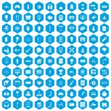 100 energy icons set blue. 100 energy icons set in blue hexagon isolated vector illustration Stock Photography