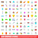 100 energy icons set, cartoon style Stock Photography