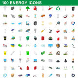 100 energy icons set, cartoon style Royalty Free Stock Image