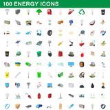 100 energy icons set, cartoon style. 100 energy icons set in cartoon style for any design illustrationr royalty free illustration