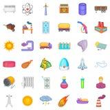 Energy icons set, cartoon style. Energy icons set. Cartoon style of 36 energy vector icons for web isolated on white background Royalty Free Stock Photos