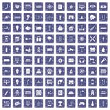 100 energy icons set grunge sapphire Royalty Free Stock Images