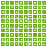 100 energy icons set grunge green Royalty Free Stock Photo