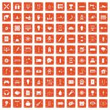 100 energy icons set grunge orange. 100 energy icons set in grunge style orange color isolated on white background vector illustration Stock Images