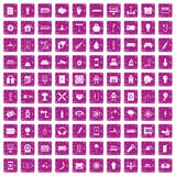 100 energy icons set grunge pink. 100 energy icons set in grunge style pink color isolated on white background vector illustration Royalty Free Stock Photography