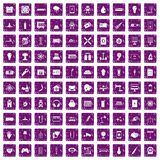 100 energy icons set grunge purple. 100 energy icons set in grunge style purple color on white background vector illustration Stock Illustration