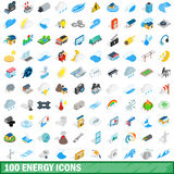 100 energy icons set, isometric 3d style Royalty Free Stock Photo