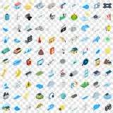 100 energy icons set, isometric 3d style Stock Photo