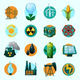 Energy Icons Set. With lightbulb petrol gasoline solar battery isolated vector illustration Royalty Free Illustration