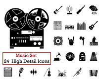 24 Energy Icons. Set of 24 Music Icons in Black Color Royalty Free Stock Photo