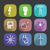 Energy Icons Set. New style icons long shadow Stock Images