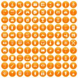 100 energy icons set orange. 100 energy icons set in orange circle isolated on white vector illustration vector illustration