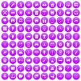 100 energy icons set purple. 100 energy icons set in purple circle isolated on white vector illustration Stock Illustration