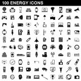100 energy icons set, simple style Stock Photography