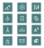 Energy icons || TEAL series Royalty Free Stock Image