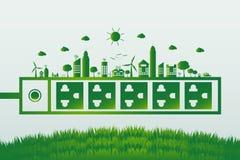 Energy ideas save the world concept Power plug green ecology. Energy idea save the world concept Power plug green ecology stock illustration
