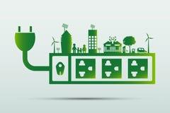 Energy ideas save the world concept Power plug green ecology. Energy idea save the world concept Power plug green ecology vector illustration