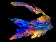 Energy of Imagination. Bird of Mind series. Abstract design made of woman and bird profile executed with colorful paint on the subject of creativity, imagination Stock Images