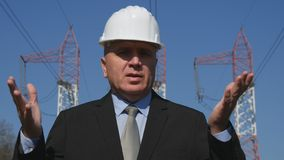 Energy Industry Engineer Talking and Gesticulate in a TV Interview.  royalty free stock photos