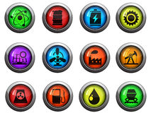 Energy and Industry icons set. Energy and Industry round glossy icons for web site and user interfaces royalty free illustration