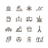 Energy industry and power factory modern industrial vector line icons Stock Photo