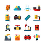 Energy Industry Production Flat Icons Set vector illustration