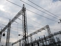 Metal structure in a electric power generation plant. Energy industry for the production of heat and luminosity, high voltage and danger, electric and magnetic stock photo