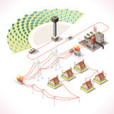 Energy 18 Infographic Isometric. Concentrating Solar Power Systems CSP Plant Farms. Isometric Electric Power Station Electricity Grid and Energy Supply Chain Stock Images