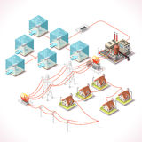 Energy 17 Infographic Isometric. Underwater Turbine Electricity. Isometric Windmill Farms Power Plant Factory Electric Power Station Electricity Grid and Energy Stock Photos