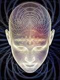 Energy of Insight. Insight In Mind series. Backdrop of human head rendering and conceptual element on the subject of brain,  thinking, science, technology and Stock Photos
