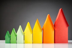 Energy Label Houses. Row of miniature paper houses in the colors and sizes of the European energy label standard stock photography