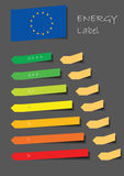 Energy label. Motif with color balls in line and EU flag and paper stickers Stock Photos