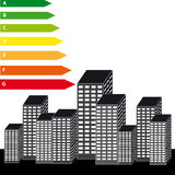 Energy labels with skyscrapers on white background Stock Photos