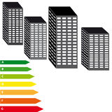 Energy labels with skyscrapers on white background Royalty Free Stock Photography